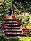 粉红色的雏菊木制的台阶装饰画