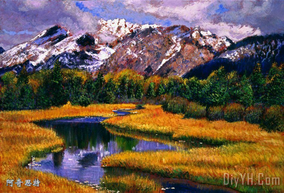 有山有水风景油画图片大全_有山有水风景油画