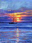 鲑鱼拖网渔船在日出装饰画