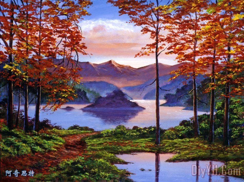 山水画装饰画_风景_秋天的景色_秋天的叶子_山水画