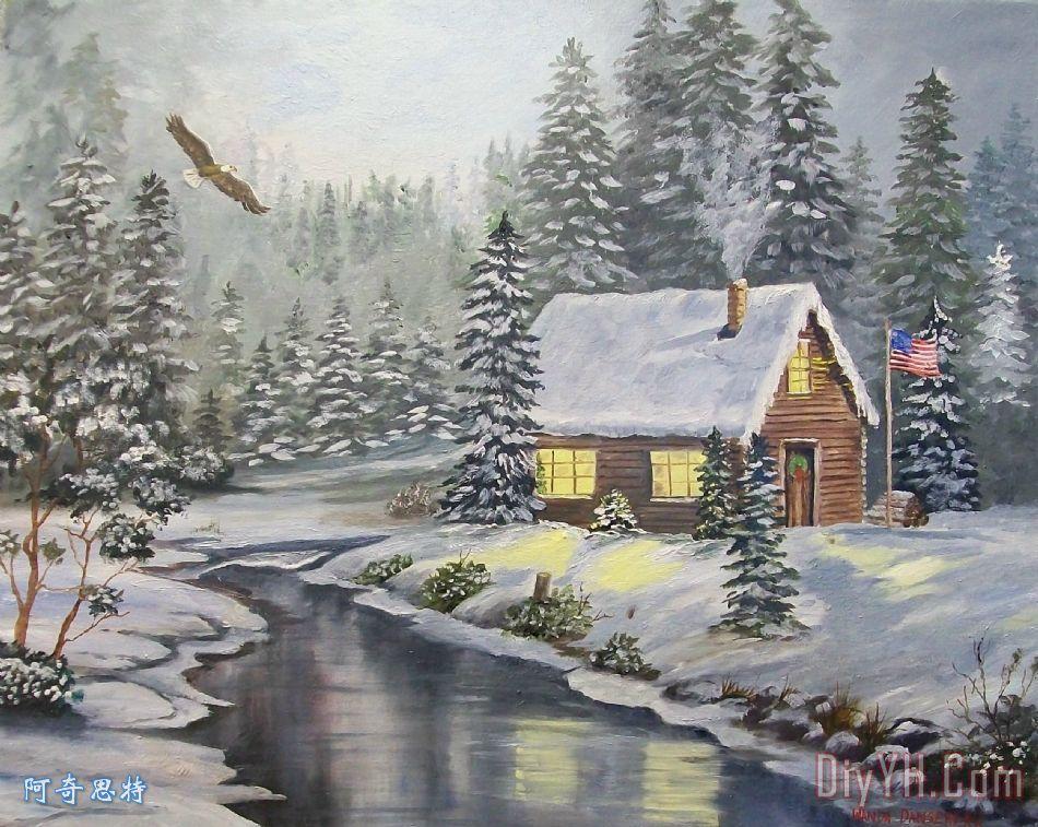冬季河边小屋 - 冬季河边小屋装饰画