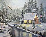 - 冬季河边小屋