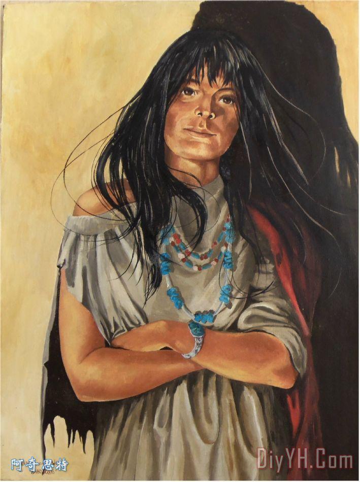 我是女人2装饰画_人物_肖像画_印第安人的_黑的_橙色