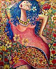 女孩在一个花场装饰画