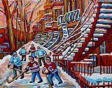 城市艺术 - 红色的楼梯画凡尔登蒙特利尔城市景观艺术曲棍球冬季场景
