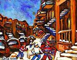 城市艺术 - 曲棍球艺术男孩玩街头曲棍球蒙特利尔城市场景