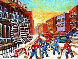 城市艺术 - 曲棍球艺术的孩子们玩街头曲棍球蒙特利尔城市场景
