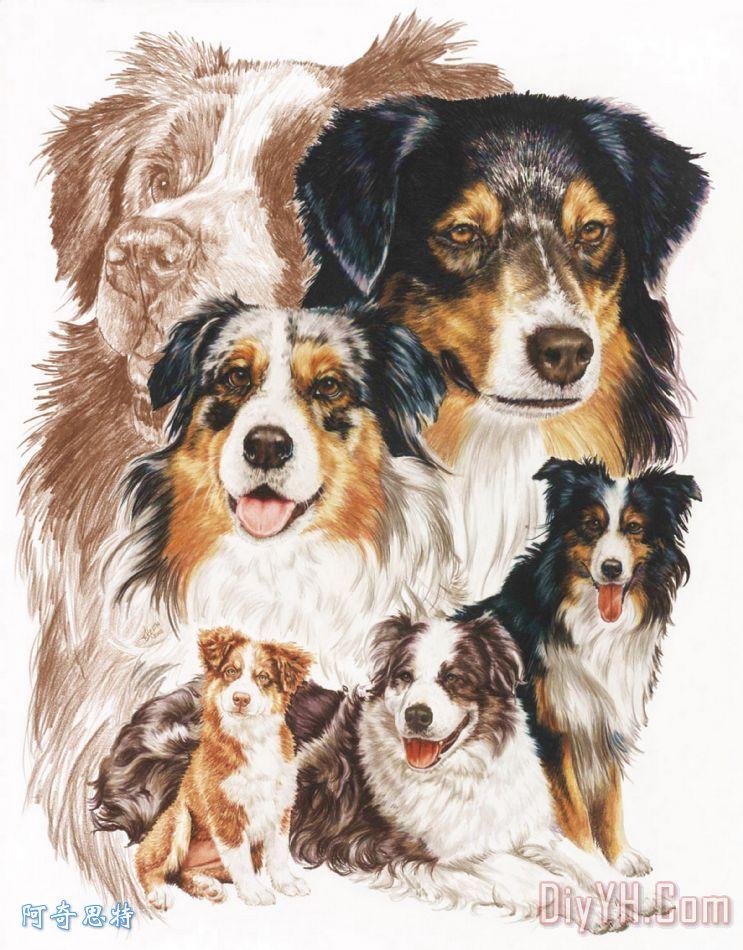 澳大利亚牧羊犬与鬼装饰画