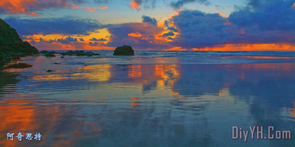 孙沙上拍摄佳能海滩俄勒冈州 - 孙沙上拍摄佳能海滩俄勒冈州装饰画