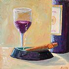 葡萄酒与雪茄装饰画