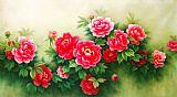 天上人间富贵花花卉油画