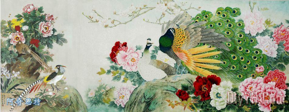孔雀牡丹图装饰画_动物