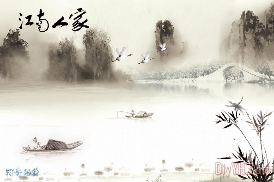 水墨国画装饰画_风景_船_山水画_鹤_江南人家_水墨
