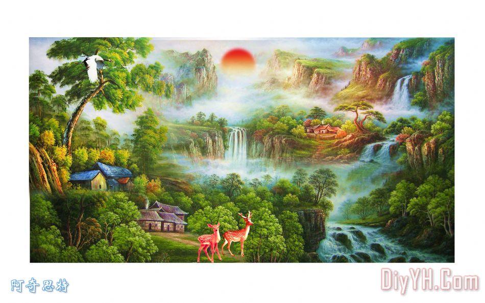 风景油画装饰画_树_小路_草坪_河流_风景油画油画定制