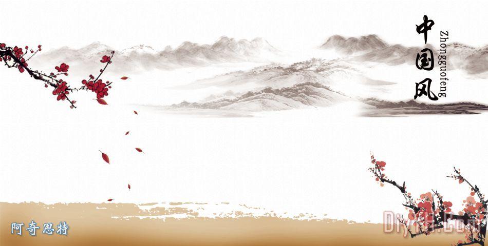 中国风装饰画_风景_背景_荷花_花瓣_山_中国风油画