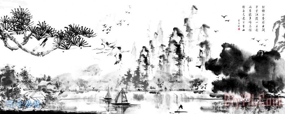 山水画装饰画_风景_动物_树枝_树木_帆船_树林_图片