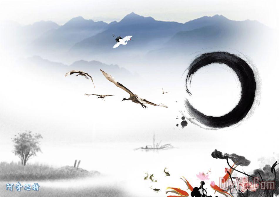 水墨画古典元素装饰画 中国风 墨迹 古典风格 传统风格 水墨画古典元素图片
