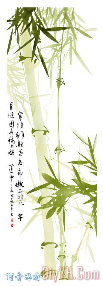 国画竹子装饰画_毛笔字
