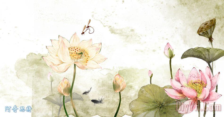 淡雅荷花水墨图背景装饰画 荷花 水墨 淡雅 中国风 背景 淡雅荷花水墨