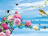 花香鸟语蝶纷飞装饰画