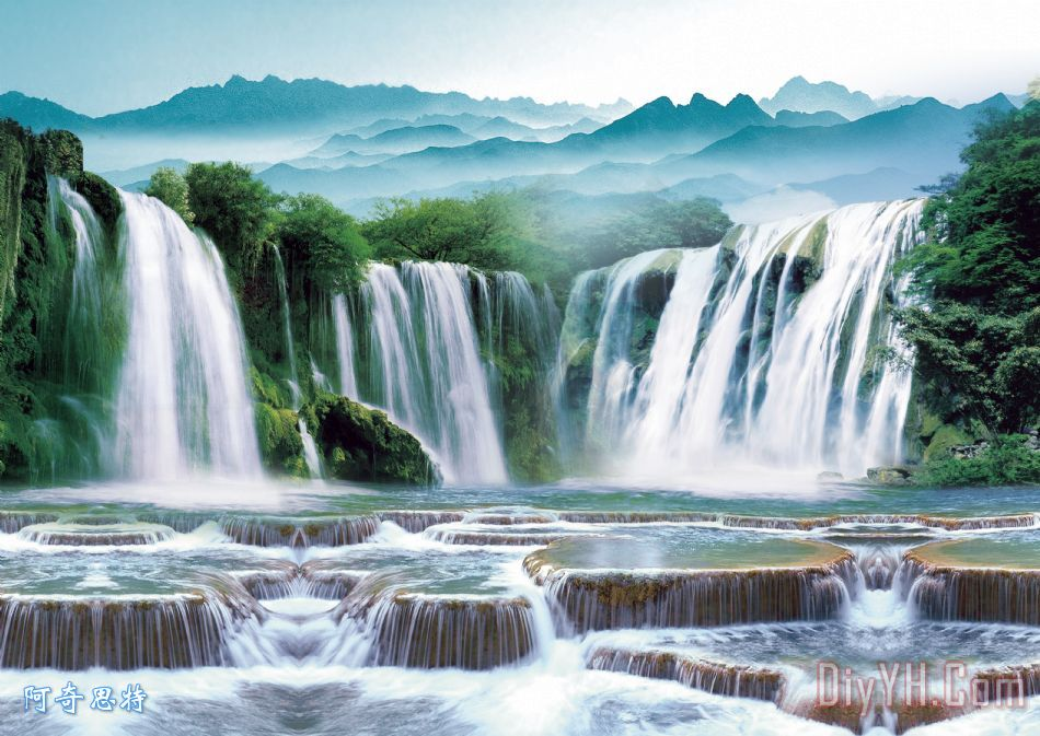 山水画装饰画 风景 风景画 自然风景 流水生财 财源滚滚 山水画油画定图片