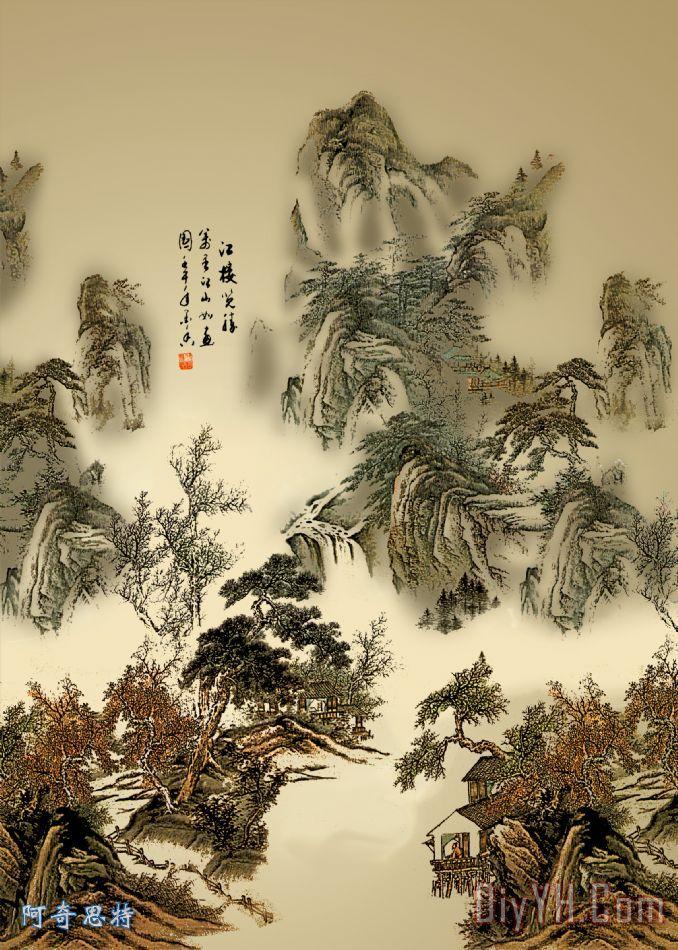 山水画装饰画_风景_松树_亭子_山峰_水墨山水_山水画