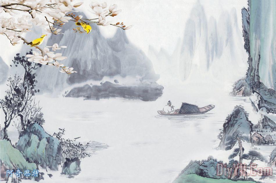 玉兰国画山水装饰画_风景