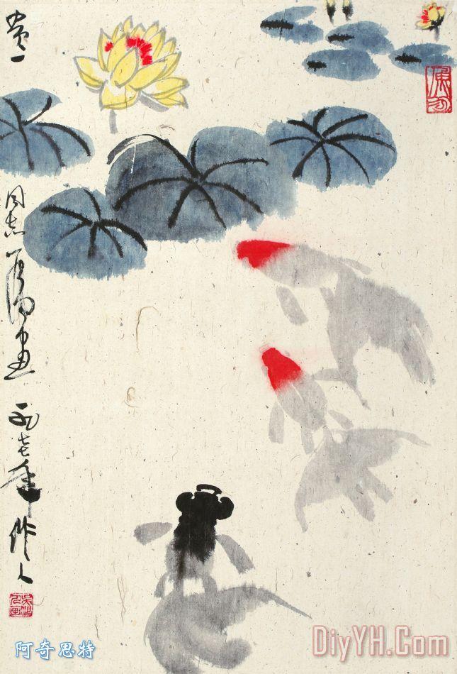 水墨画金鱼图装饰画_海_海洋生物_中国风_国画_水墨画