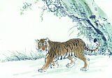 老虎水墨书房装饰画