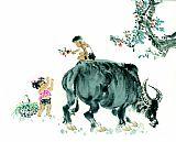 中国画黄牛书房油画