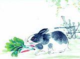 小白兔吃萝卜书房装饰画