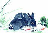 白兔吃萝卜书房装饰画