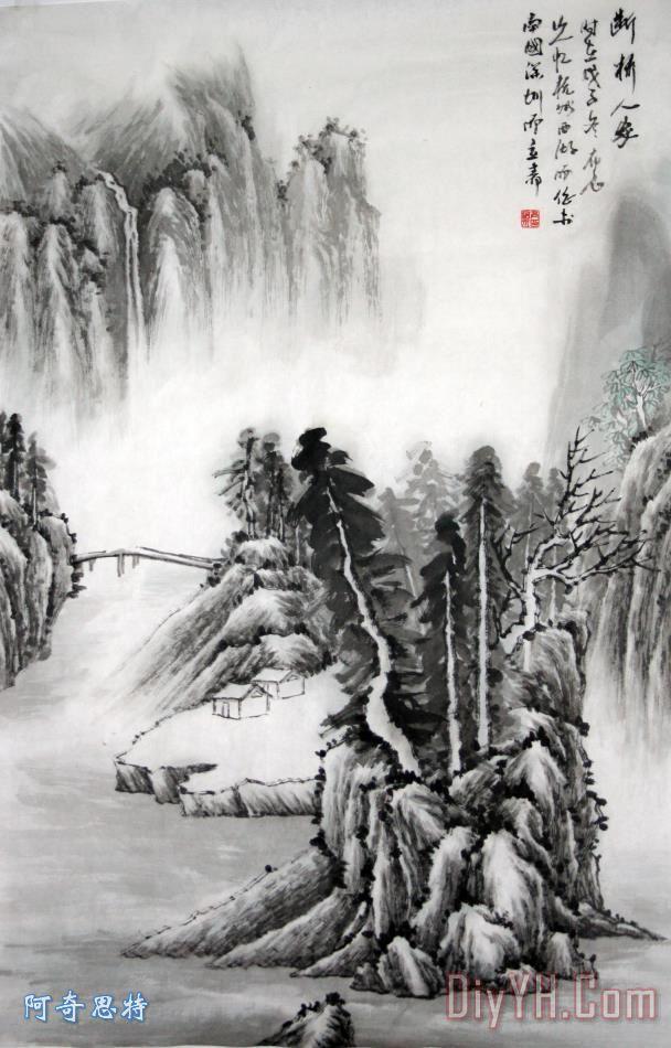 山水水墨画装饰画 风景 水墨画背景 水墨画图案 山水水墨画油画定制