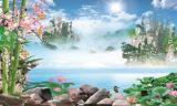 山水荷塘风景图装饰画