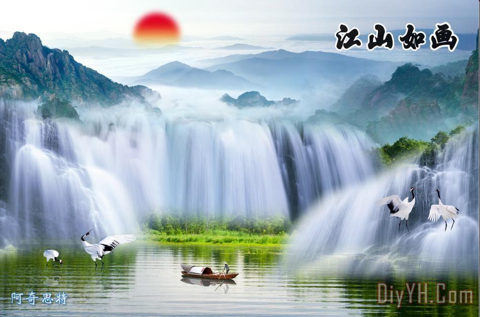 山水画自然风景装饰画_油画_风景画_壁画_水墨画_图片
