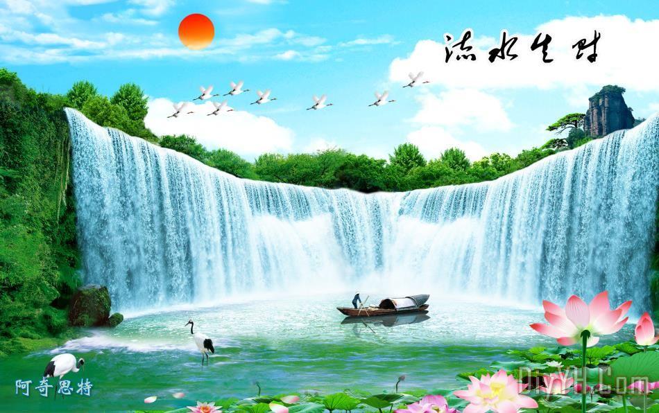 山水画 中堂画 风景画装饰画 室内装饰 瀑布 渔船 壁画 山水画 中堂画