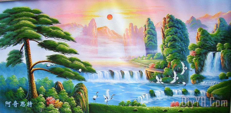 山水风景装饰画_树_油画_太阳_松_图片大全_阿奇思特