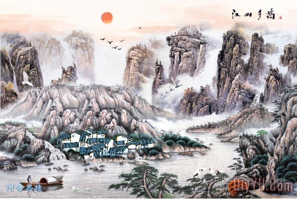 山水国画装饰画_风景_船