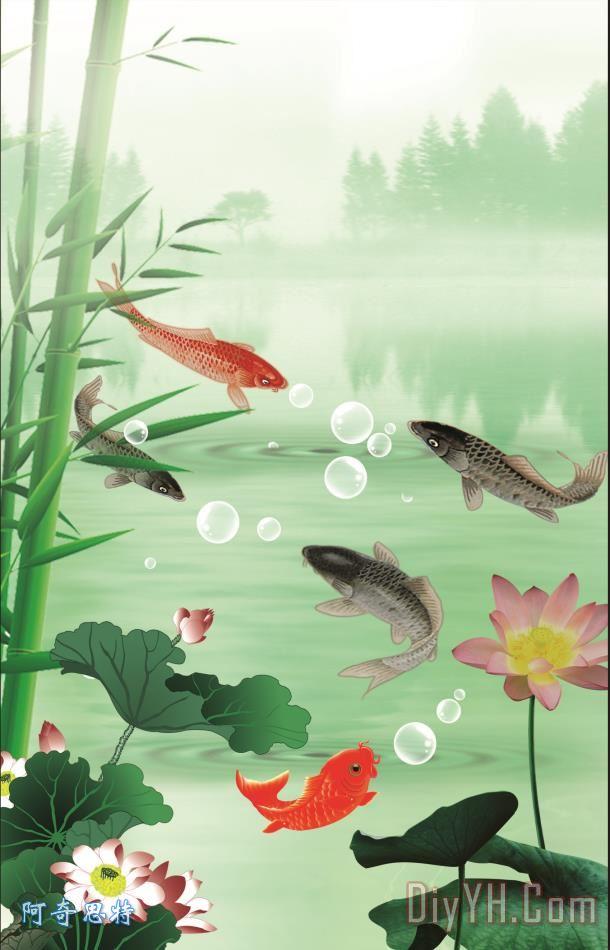 鱼装饰画_风景_荷花_中国风_山水画_气泡_鱼油画定制
