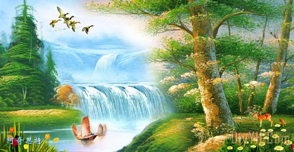 最新款 山水风景装饰画 油画 秋天 悲哀的 荷花 最新款 山水风景油画定