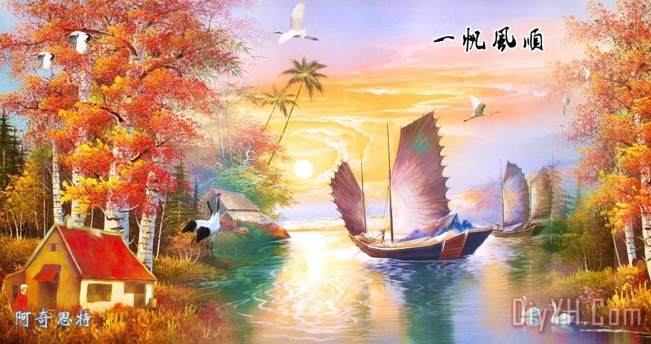 托马斯油画风景画花园景现代装饰画有框画壁画欧式挂