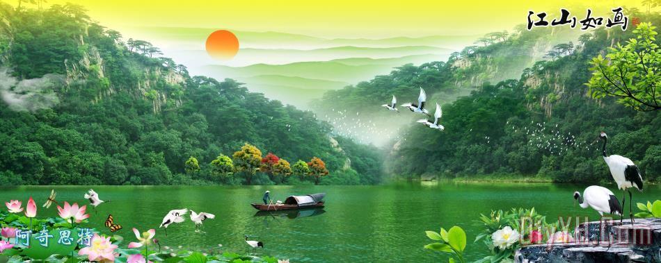 山河风景 树林风景装饰画_动物_小溪_森林_加歇医生