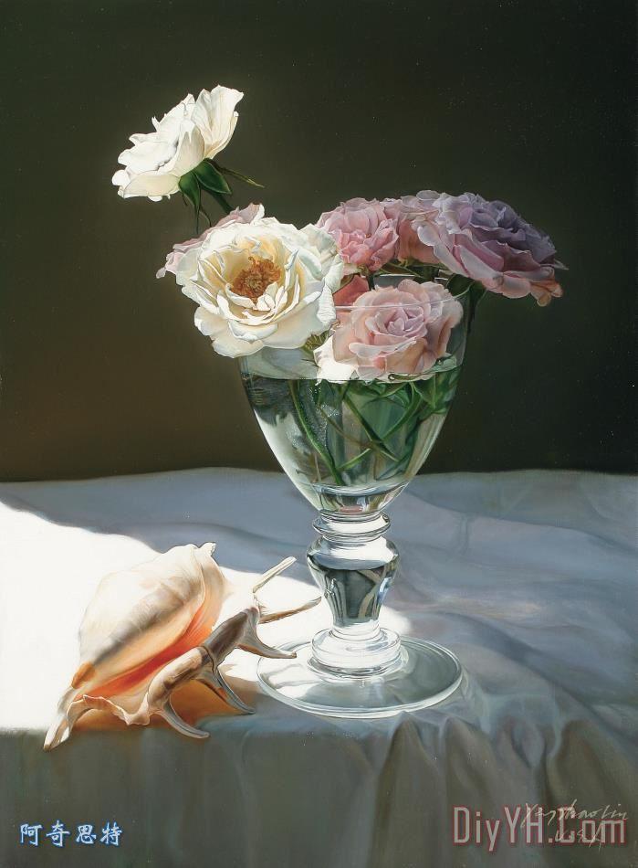 油画超写实主义油画静物装饰画 静物油画 花卉盆景油画 写实高清图片