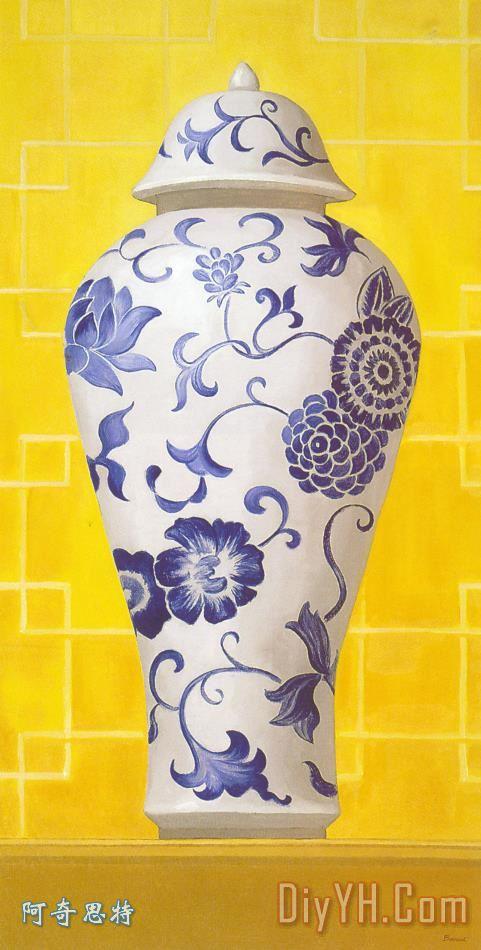 简笔青花瓷瓶子绘画图案展示