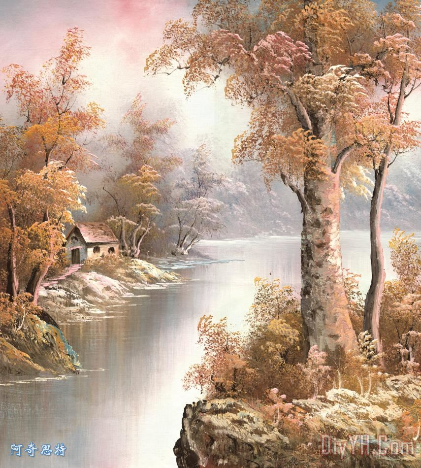风景油画装饰画_树木_玫瑰_水果_国旗_风景油画油画