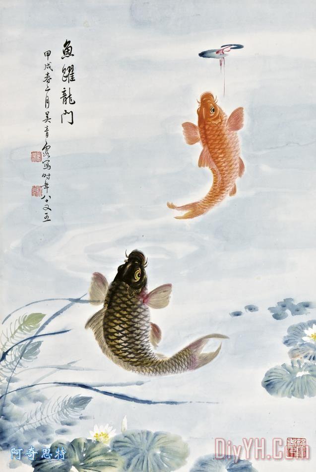 鱼跃龙门装饰画_油画_荷花