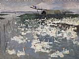 太湖鹅群装饰画