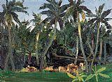 椰林与牛装饰画
